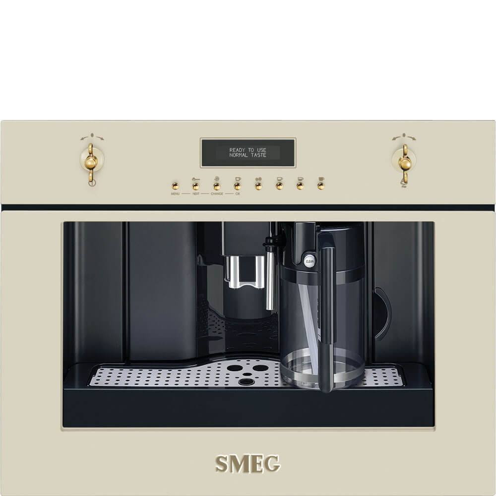Smeg Einbau-Kompakt-Kaffeevollautomat CMS8451P Nostalgie Crème 60x45 cm