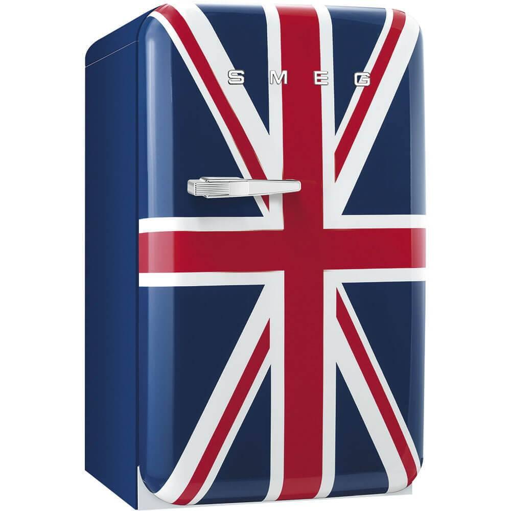 50's Retro Style, Standkühlschrank mit 4****Gefrierfach, 60 cm, Union Jack, Rechtsanschlag Energieeffizienzklasse A+