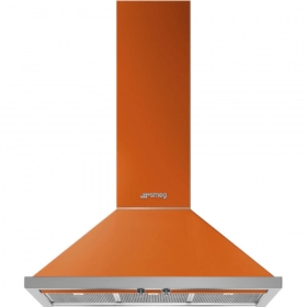 Dekor-Wandhaube, 90cm, Orange, Portofino Design, Rahmen-Filtereinfassung in Edelstahl, 3 Leistungsstufen + INTENSIV, 2 LED-Beleuchtungen, ENERGIE-EFFIZIENZKLASSE A+