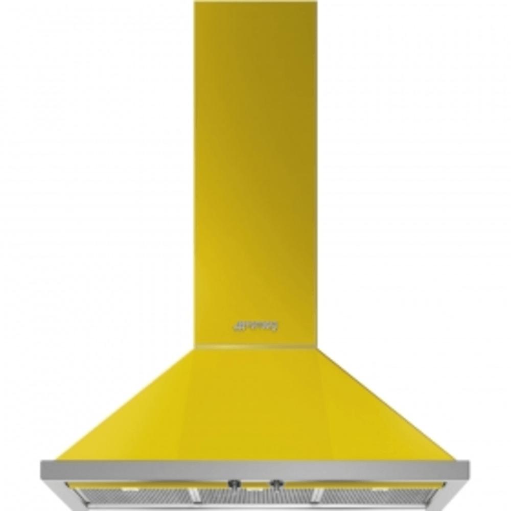 Dekor-Wandhaube, 90cm, Gelb, Portofino Design, Rahmen-Filtereinfassung in Edelstahl, 3 Leistungsstufen + INTENSIV, 2 LED-Beleuchtungen, ENERGIE-EFFIZIENZKLASSE A+