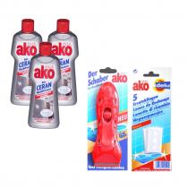 (한국직배송) 아코 Ako® 전기렌지 세정제 250ml 3병+유리 세척 스크래퍼 1개+리필칼날(5ea) 1개 세트