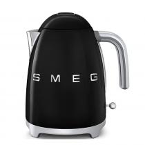 (CO2) SMEG 50's Retro Style, 1,7 L - Wasserkocher, Schwarz, Soft Opening Kannenverschluss, Anti-Kalkfilter, 2400 W