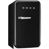 SMEG 50's Retro Style, Minibar Stand-Kühlschrank, 40 cm Schwarz, Rechtsanschlag, Absorber-Kühlsystem (Vibrations- und geräuschlos), Energieeffizienzklasse D