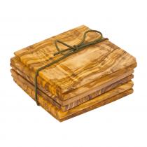 레데커 올리브나무 컵 받침 9x9x0.6cm 6개