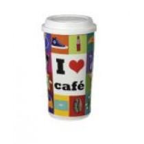 """[빅세일]  Cilio 커피머그 Coffee-To-Go """"I love café """""""" 재질 도자기"""